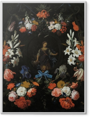 Poster in Cornice Abraham Mignon - Garland of Flowers