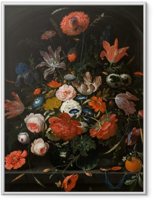 Gerahmtes Poster Abraham Mignon - Flowers in a Glass Vase