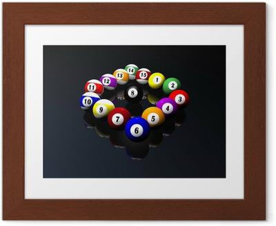 Póster com Moldura fifteen pool billiard balls