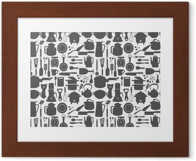 Poster en cadre Seamless kitchen pattern
