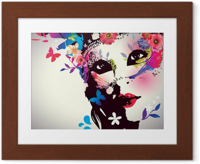 Girl with mask/Vector illustration Framed Poster
