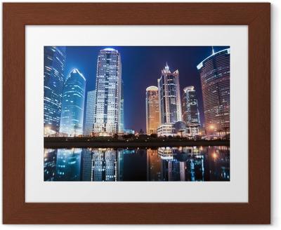 Poster en cadre Vue de nuit de shanghai centre du quartier financier