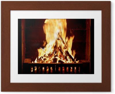 Ingelijste Poster Brandend vuur in de open haard