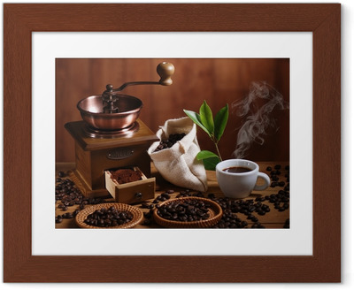 Poster en cadre Tasse de café moulin à café en bois