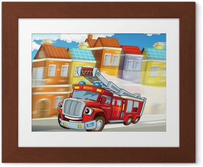 Poster en cadre Le camion de pompier rouge - devoir - illustration pour les enfants