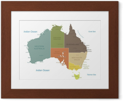 Gerahmtes Poster Australien-sehr detaillierte map.Layers verwendet.