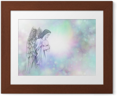 Gerahmtes Poster Engel auf weichen Bokeh nebligen Rahmen Hintergrund