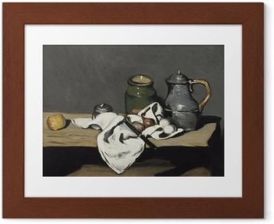 Poster en cadre Paul Cézanne - Nature morte à la bouilloire - Reproductions
