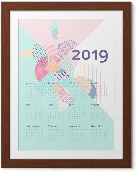 Poster en cadre Calendrier 2019 - Géométrie -