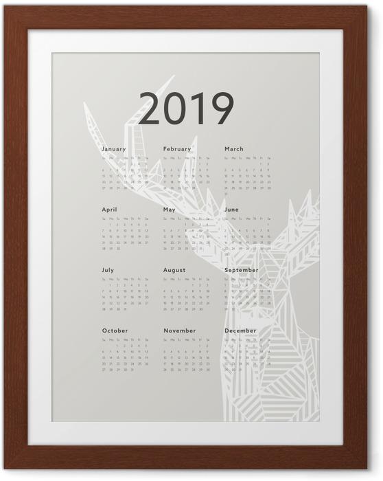 Plakát v rámu Kalendář 2019 - jelen -