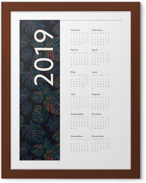 Gerahmtes Poster Kalendarium 2019 - Blumen -