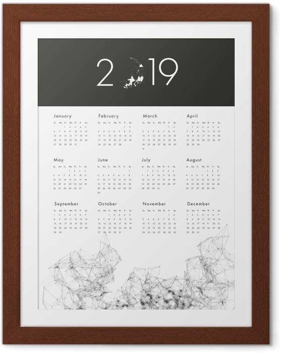 Plakát v rámu Kalendář 2019 - black and white -