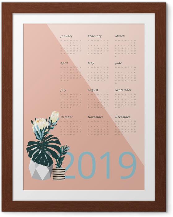 Poster en cadre Calendrier 2019 - Pantone 2019 -