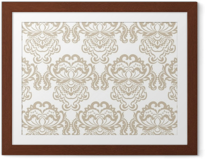 Ingelijste Poster Vector bloemen damast barok ornament patroon element. elegante luxetextuur voor textiel, stoffen of behangachtergronden. beige kleur