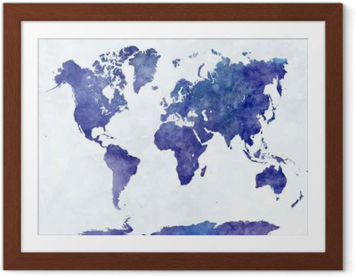 Póster com Moldura Mapa do mundo em aquarela