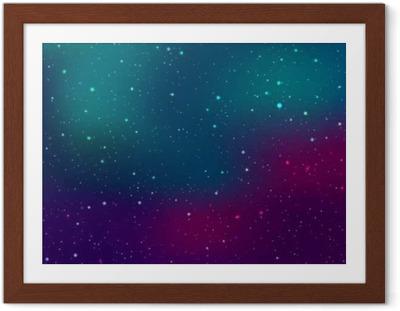 Póster Enmarcado El espacio de fondo con estrellas y manchas de luz. ilustración galaxie astronómico abstracto.