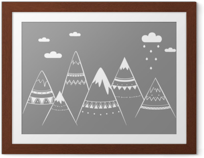 Plakat w ramie Dzieci górskie, ręcznie rysowane ilustracji wektorowych