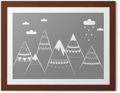 Poster en cadre Enfants de montagne, illustration vectorielle dessinés à la main