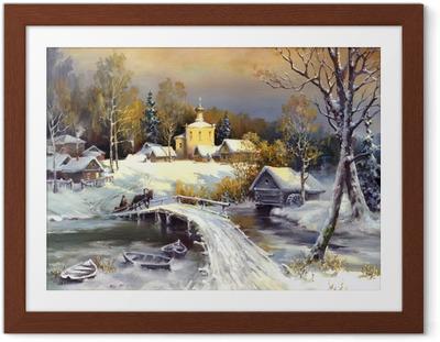 Rural landscape, oil on a canvas Framed Poster