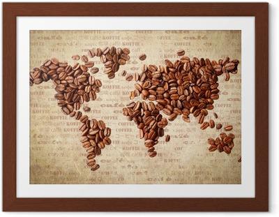 Poster en cadre Carte du monde des grains de café