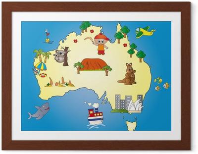 Gerahmtes Poster Australia Map