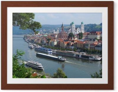 Póster com Moldura Passau, City of Three Rivers, Bavaria, Germany.
