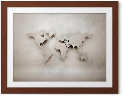 Ingelijste Poster Abstracte 3d grunge wereldkaart