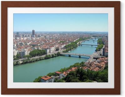 Poster en cadre Lyon ville panorama - Thèmes