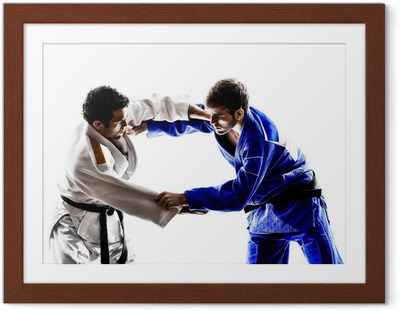 judokas fighters fighting men silhouette Framed Poster