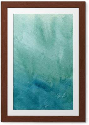 Innrammet plakat Hånd trukket turkisblå, grønn akvarell abstrakt maling tekstur. Raster gradient splash bakgrunn.