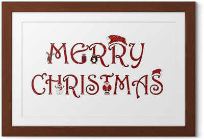 Merry Christmas Sign With Animations - Isolated on white Framed Poster