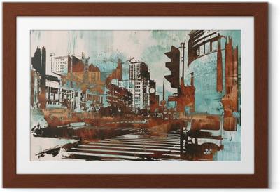 Plakat w ramie Cityscape z abstrakcyjnego grunge, ilustracja malarstwo