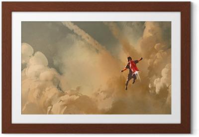 Poika lentää pilvinen taivas jet pack raketti, kuvitus maalaus Kehystetty juliste