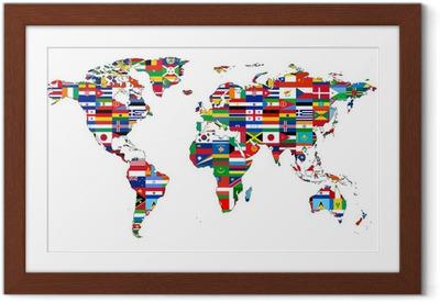 Carte du Monde avec drapeaux Framed Poster