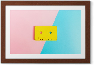 Retro cassette tapes on bright background Framed Poster
