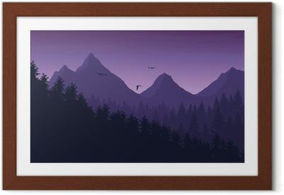 Vektori esimerkki vuoristomaisema metsän alla purppura yö taivas pilvet ja lentävät linnut Kehystetty juliste