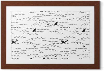 Poster en cadre Requin dauphin seamless pattern vecteur baleine mer océan doodle isolé fond d'écran fond blanc