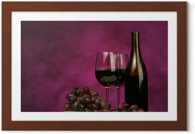 Poster en cadre Horizontale de la bouteille de vin avec des lunettes et raisins