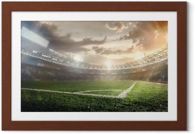 Urheilu taustat. jalkapallostadionilla. Kehystetty juliste