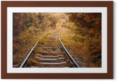 Poster en cadre Voie ferrée en automne