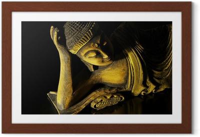 Poster en cadre Le bois de teck Bouddha couché sur le noir - Thèmes