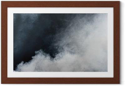 Ingelijste Poster Witte rook op zwarte achtergrond. Geïsoleerd.