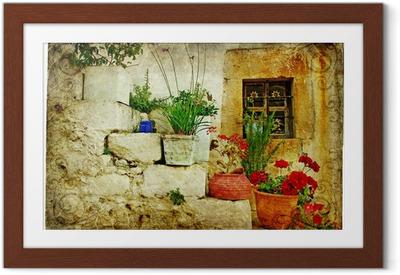 Póster com Moldura old villages of Greece - artistic retro style