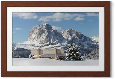 Plakat w ramie Górski Sassolungo w Dolomitach