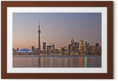 Póster com Moldura Toronto night skyline CN Tower downtown skyscrapers sunset Canad