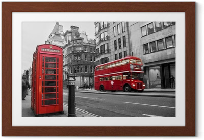 Gerahmtes Poster Telefonzelle und rote Busse in London (UK)