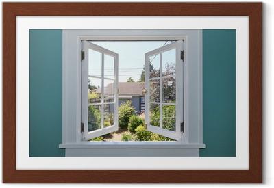 Plakat w ramie Otwórz okno na podwórku z małym szopie.