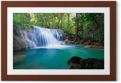 Plakat w ramie Wodospad w lesie, Kanchanaburi, Tajlandia