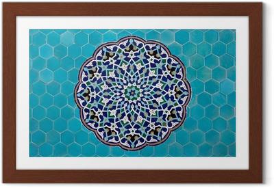 Gerahmtes Poster Islamische Mosaik-Muster mit blauen Kacheln