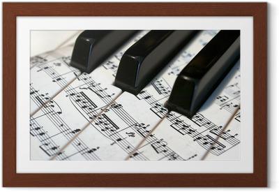 Poster en cadre Teclas de Notas piano con musicales